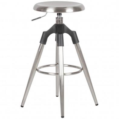 WOHNLING Barhocker Silber Metall 72-80 cm   Design Barstuhl 100 kg Maximalbelastbarkeit   Tresenhocker Industrial   Tresenstuhl ohne Lehne