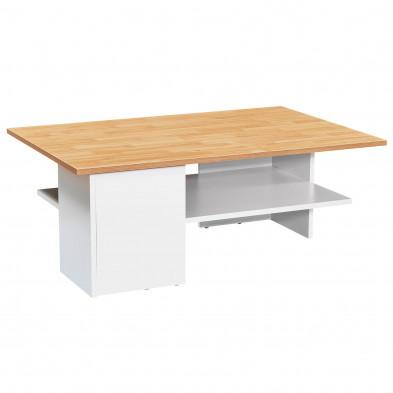 Table basse  blanc moderne en panneau de particules agglomérées  L. 90 x P. 60 x H. 35 cm  collection Couturier