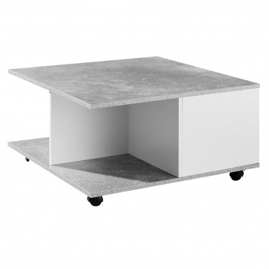 Table basse gris moderne en panneau de particules agglomérées L. 70 x P. 70 x H. 36,5 cm  collection Starr