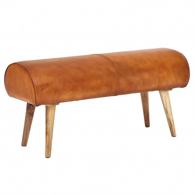 banquette marron design en bois massif manguier et cuir véritable   L. 100 x P. 40 x H. 53 cm collection Bergstrom