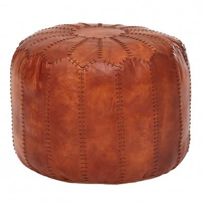 Repose-pied et pouf marron classique en cuir synthétique et tissu L. 52 x P. 52 x H. 42 cm collection Radwa