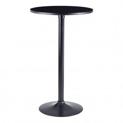 Table de bar design en acier noir D. 60 x H. 100 cm collection Geirsson
