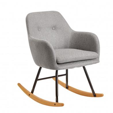 Fauteuil relax gris scandinave en velours avec pieds en acier et bois L. 71 x P. 70 x H. 76 cm collection Vandevondervoort