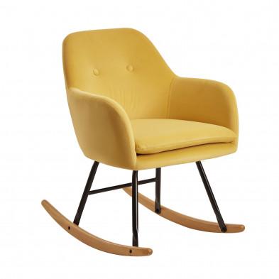 Fauteuil relax jaune scandinave en velours avec pieds en acier et bois L. 71 x P. 70 x H. 76 cm collection Vandevon
