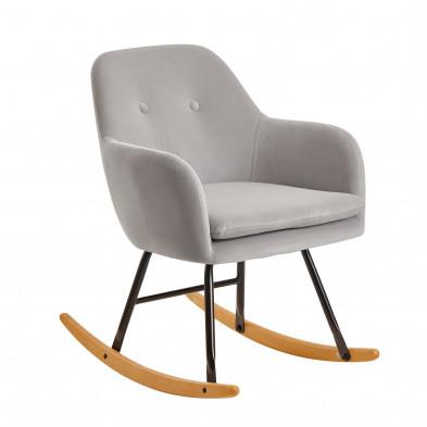 Fauteuil relax gris scandinave en velours avec pieds en acier et bois L. 71 x P. 70 x H. 76 cm collection Vandevon