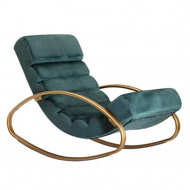 Fauteuil relax design en fer forgé et velours vert L. 61 x P. 111 x H. 81 cm collection Kirkcaldie