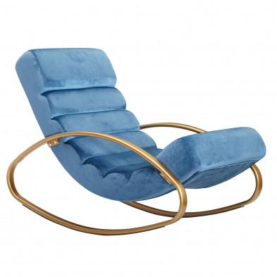 Fauteuil relax design en fer forgé et velours bleu L. 61 x P. 111 x H. 81 cm collection Kirkcaldie