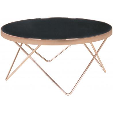Table basse noir design en acier L. 82 x P. 82 x H. 40 cm collection Englewood