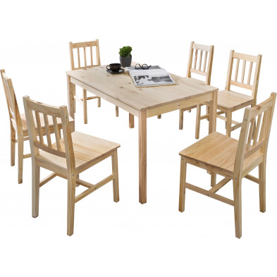 Ensembles tables & chaises beige contemporain en bois massif pin L. 120 x P. 70 x H. 73 cm collection Seed