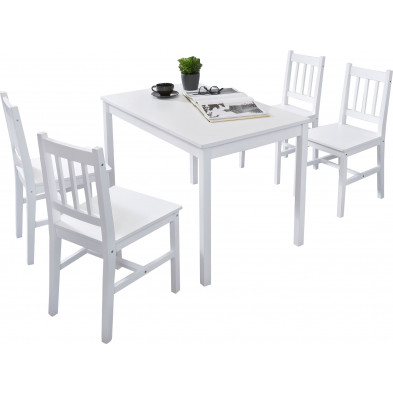 Ensembles tables & 4 chaises blanc contemporain en bois massif pin L. 108 x P. 65 x H. 73 cm collection Seed