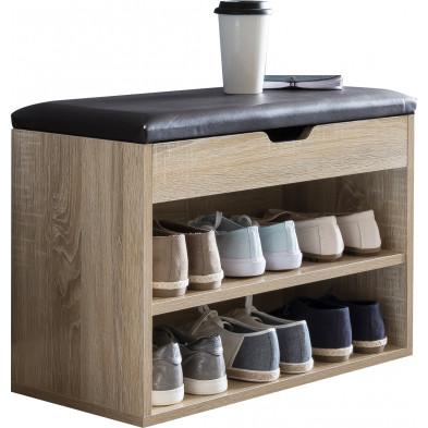 Meubles chaussures beige moderne en panneaux de particules mélaminés de haute qualité L. 60 x P. 30 x H. 40 cm collection Brynrefail