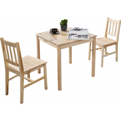 Ensembles tables & chaises beige contemporain en bois massif pin L. 70 x P. 70 x H. 73 cm collection Seed