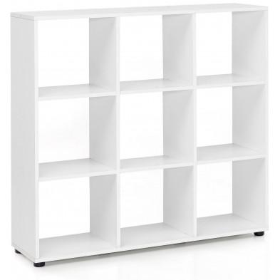 Meuble étagère blanc moderne en panneaux de particules mélaminés de haute qualité L. 108 x P. 29 x H. 104 cm collection Sorbano