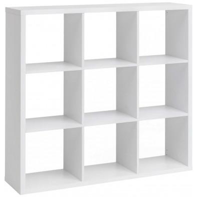Meuble étagère blanc moderne en panneaux de particules mélaminés de haute qualité L. 112 x P. 29 x H. 112 cm collection Pelton