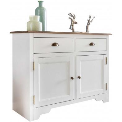 Buffet - vaisselier contemporain en bois pin massif blanc L. 110 x P. 45 x H. 85 cm collection Beland