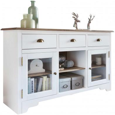 Buffet - vaisselier blanc contemporain en acier L. 140 x P. 45 x H. 85 cm collection Beland