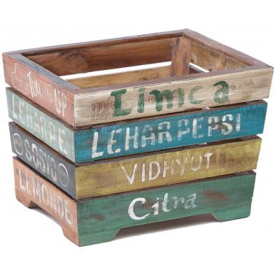 Rangement multicouleur vintage en bois massif manguier L. 45 x P. 40 x H. 35 cm collection Ingram