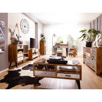 Salle à manger complète en bois massif multicouleur vintage en acier collection Kelsame