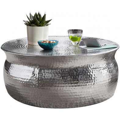 Table basse argenté design en aluminium L. 75 x P. 75 x H. 31 cm collection Grice