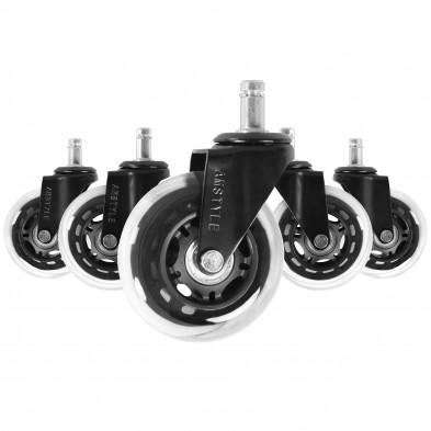 Lot de 5 Roulettes de bureau noir design en polyester  L. 33 mm x P. 75 mm x H. 120 mm cm collection Castellero