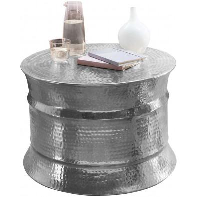Table basse argenté design en aluminium L. 62 x P. 62 x H. 41 cm collection Grice