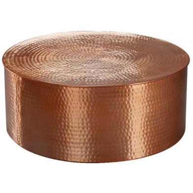 Table basse or design en aluminium L. 75 x P. 75 x H. 31 cm collection Marple