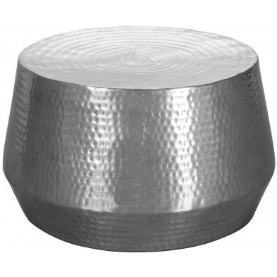 Table basse argenté design en aluminium L. 60 x P. 60 x H. 36 cm collection Jooren