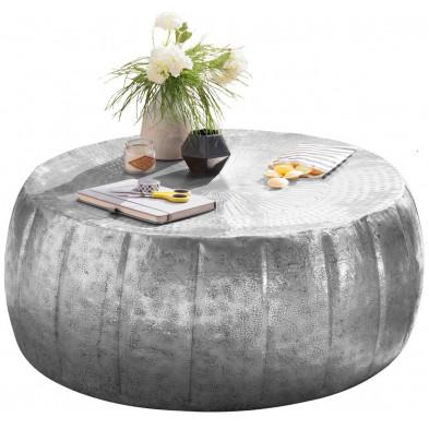 Table basse argenté design en aluminium L. 72 x P. 72 x H. 31 cm collection Gobenheim