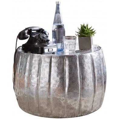 Table basse argenté design en aluminium L. 60 x P. 60 x H. 36 cm collection Gobenheim