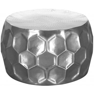Table basse argenté design en aluminium L. 60 x P. 60 x H. 36 cm collection Vanwesten
