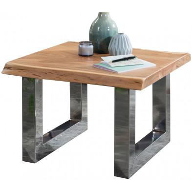 Table basse design marron rustique en acier chromé L. 58 x P. 60 x H. 40 cm collection Princeville