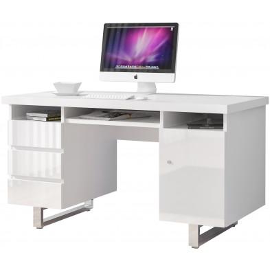 Bureau informatique blanc design en acier chromé L. 140 x P. 60 x H. 76 cm collection Zeveneken