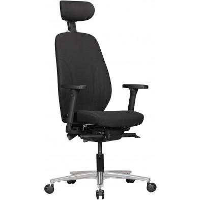 Chaise et fauteuil de bureau noir design en aluminium L. 70 x P. 70 x H. 125 cm collection Pine