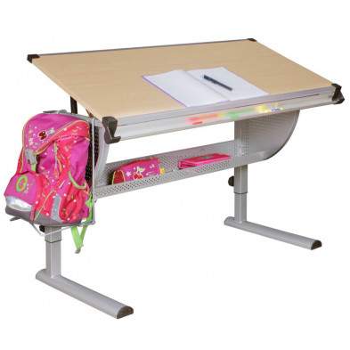 Bureau enfant argenté design en acier L. 118 x P. 130 x H. 60 cmcollection Thain