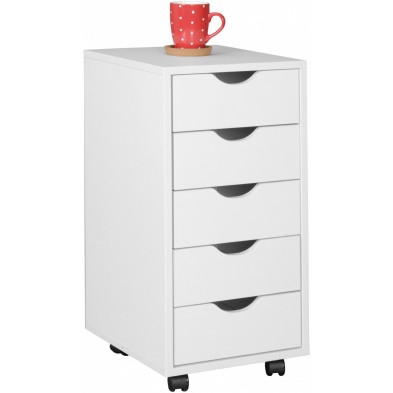Caisson bureau blanc design en bois mdf L. 33 x P. 38 x H. 68 cm collection Fuchsmuhl