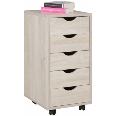 Caisson bureau beige contemporain en bois mdf L. 33 x P. 38 x H. 68 cm collection Fuchsmuhl