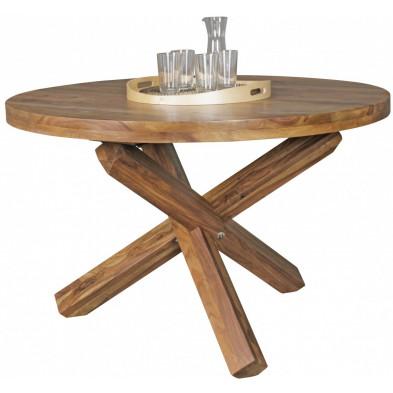 Table de salle à manger marron rustique en bois massif L. 120 x P. 69 x H. 75 cm collection Craig
