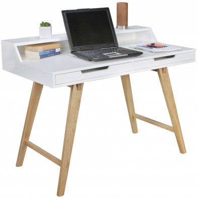 Bureau design beige scandinave en bois massif L. 110 x P. 60 x H. 85 cm collection Reuse