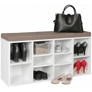 Meubles chaussures blanc moderne en panneaux de particules mélaminés de haute qualité L. 103,5 x P. 30 x H. 53 cm collection Ponder