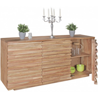 Buffet - bahut - enfilade contemporain en bois massif acacia marron L. 160 x P. 43 x H. 75 cm collection Wols