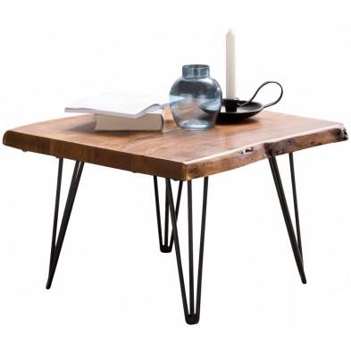 Table d'appoint marron contemporain en acier L. 56 x P. 51 x H. 38 cm collection Wols