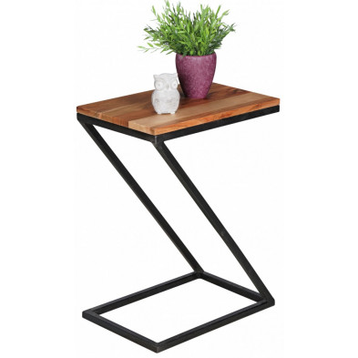 Table d'appoint marron contemporain en acier L. 45 x P. 32 x H. 62 cm collection Llangattock