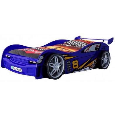 Lit voiture bleu design en bois mdf L. 231 x P. 111 x H. 68 cm collection Huon