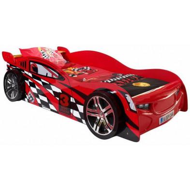Lit voiture rouge design en bois mdf L. 229 x P. 111 x H. 60 cm collection Huon