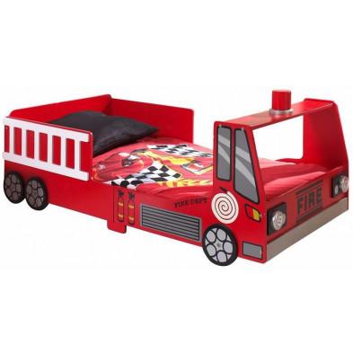 Lit voiture rouge design en bois mdf L. 147 x P. 77 x H. 61 cm collection Huon