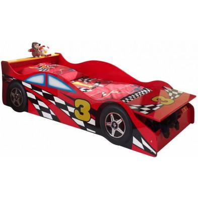 Lit voiture rouge design en bois mdf L. 175 x P. 78 x H. 48 cm collection Huon