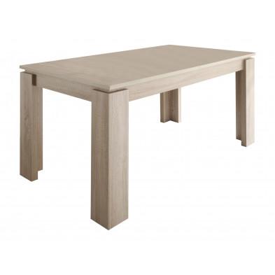 Table à manger extensible en Panneaux de particules mélaminés de haute qualité  coloris chêne clair L. 160/200 x P. 90 x H. 77 cm collection Douai