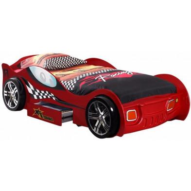 Lit voiture rouge design en bois mdf L. 225 x P. 111 x H. 63 cm collection Huon