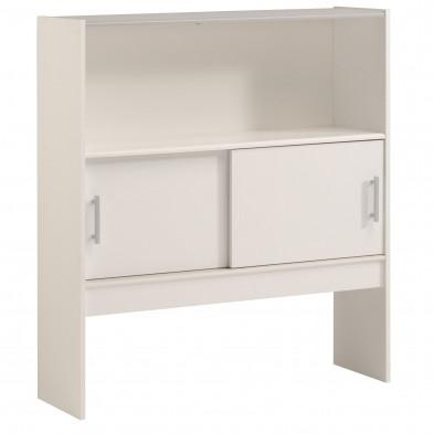 Tête de lit moderne blanc en bois massif chêne L. 98 x P. 28 x H. 108 cm Collection Bind
