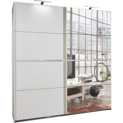 Armoire porte coulissante blanc design en panneaux de particules mélaminés de haute qualité L. 225 x P. 59 x H. 210 cm collection Contest